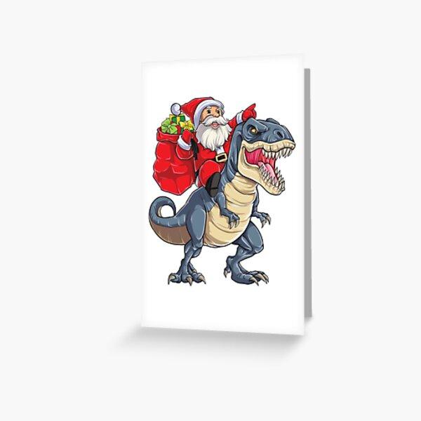 Santa Riding Dinosaur T rex T Shirt Christmas Gifts X-mas Kids Boys Girls Man Women Greeting Card
