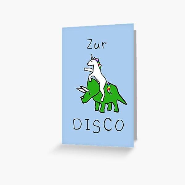 Zur Disco (Einhorn Reiten Triceratops) Greeting Card