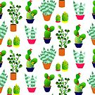 Cute Trendy Cactus Plants Floral Print  by Artification