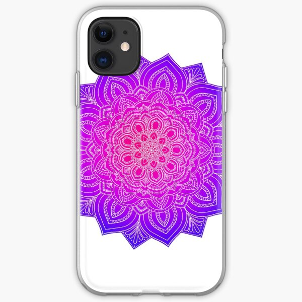 Colorful Pink Mandala Flower iPhone Soft Case