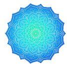 Blue and Aqua Flower Mandala by Cassidy Capri