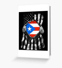 Puerto Rico Ripped American Black and White Flag Showing True Puerto Rican Flag Origins Perfect For USA Resident With Puerto Rican Roots Greeting Card
