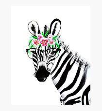 Zebra wirh Gläser Fotodruck