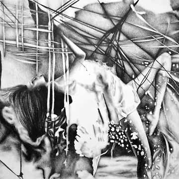Floating with nowhere to hide, 2018, 50-70cm, graphite crayon on paper by oanaunciuleanu