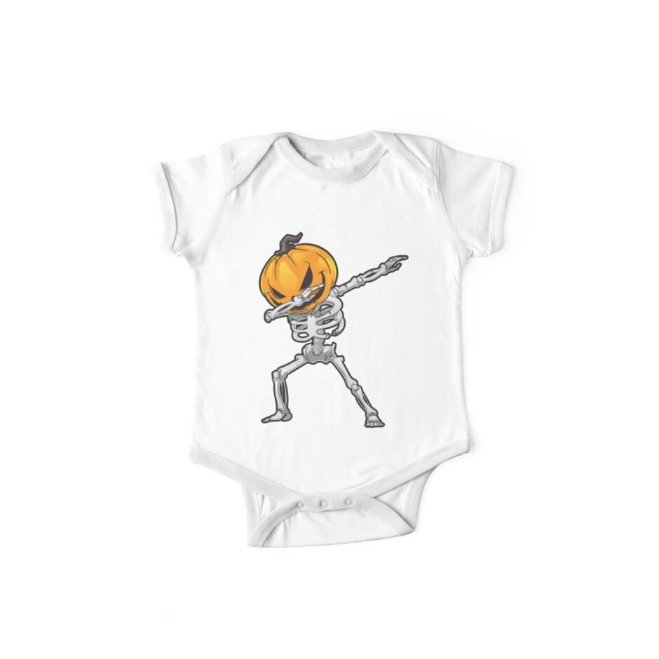 9d3197a1 Skeleton Pumpkin Dabbing Halloween T-Shirt Funny Skull Dab Costume ...