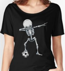 Dabbing Skeleton Soccer T Shirt Halloween Costume Skull Funny Scary Gifts Kids Boys Youth Men Women's Relaxed Fit T-Shirt