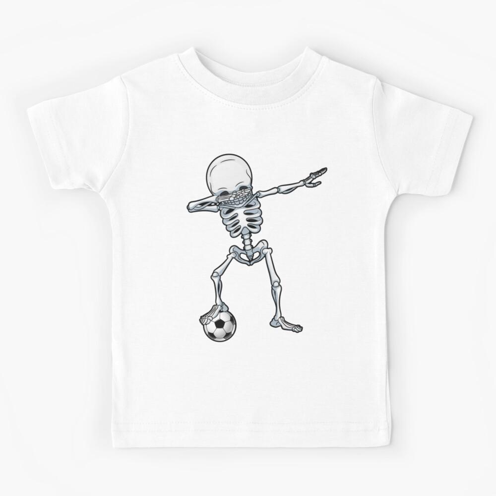 Dabbing Skeleton Soccer T Shirt Halloween Costume Skull Funny Scary Gifts Kids Boys Youth Men Kids T-Shirt