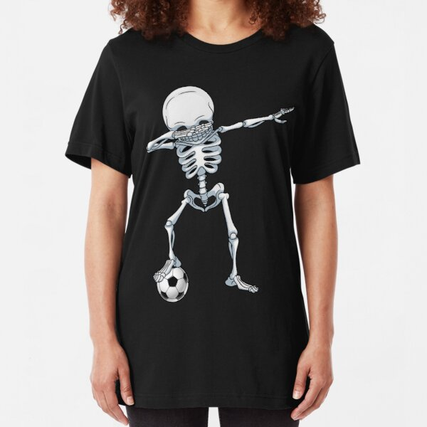 Dabbing Skeleton Soccer T Shirt Halloween Costume Skull Funny Scary Gifts Kids Boys Youth Men Slim Fit T-Shirt