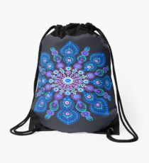 Light Blue Snow Flake Mandala - Art&Deco By Natasha Drawstring Bag