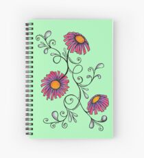 3 Flowers Drawing - Art&Deco By Natasha Spiral Notebook