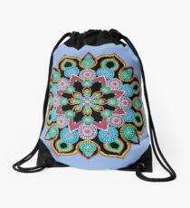 Red Star Dot Mandala - Art&Deco By Natasha  Drawstring Bag