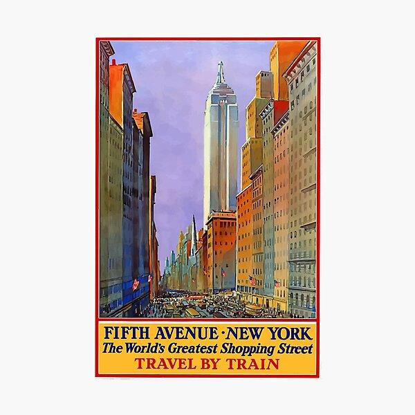 Vintage Travel Poster - 5th Avenue New York Photographic Print
