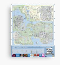 GTA San Andreas Map Design Metal Print