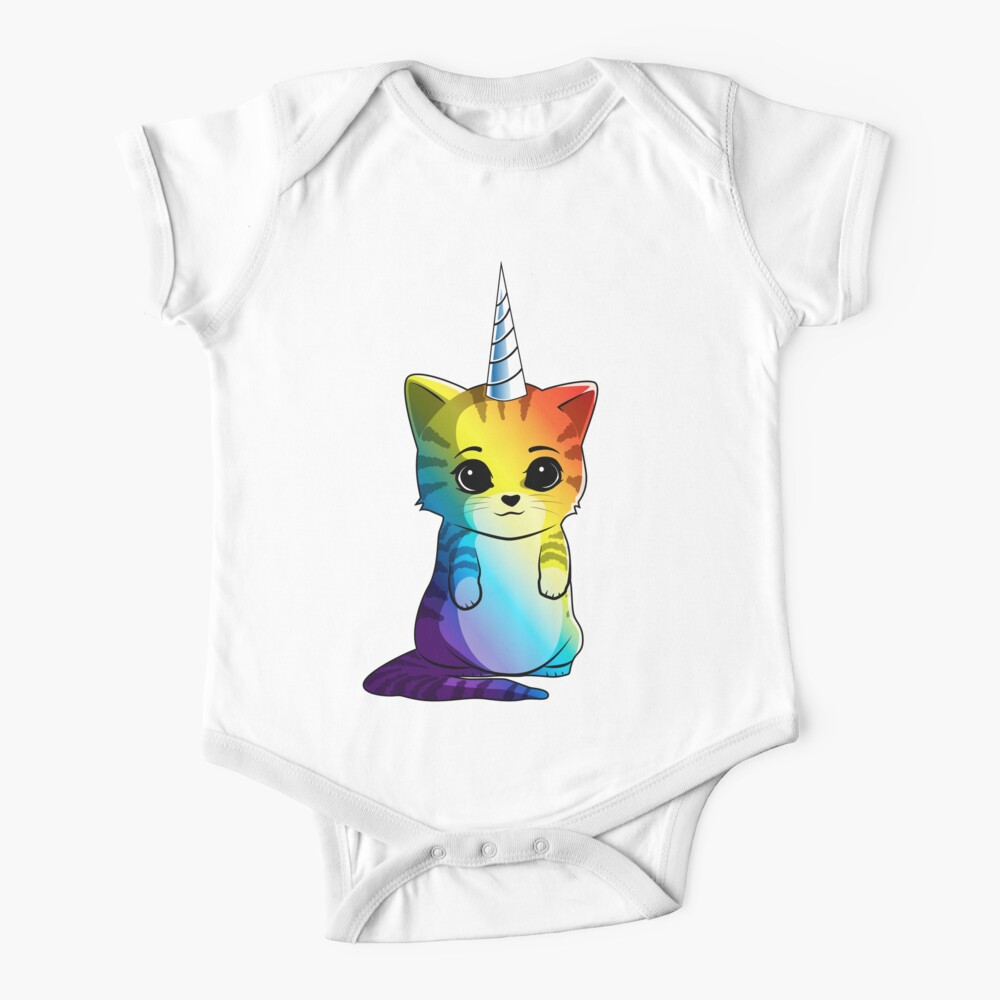 Caticorn T shirt Cat Unicorn Kittycorn Meowgical Rainbow Gifts Kids Girls Women Funny Cute Tees Baby One-Piece