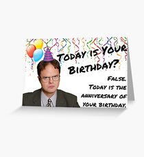 Dwight Schrute, The Office Us, Birthday card, sticker packs, Gifts, Quotes, Presents, Cool, Good vibes, Comedy, Humor, Fact, False, Quote Greeting Card