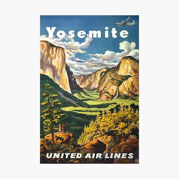 Vintage Travel Poster - Yosemite National Park Photographic Print