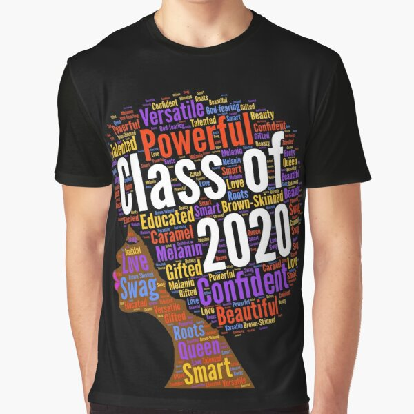 Class of 2020 Words in Afro Natural Hair Graphic T-Shirt