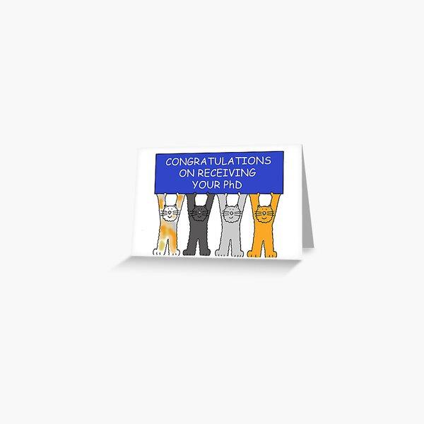 Felicitaciones por recibir su pancarta y gatos de dibujos animados de doctorado Tarjetas de felicitación