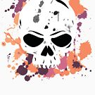 Vibrant Paint Splattered Skull by partimesloth