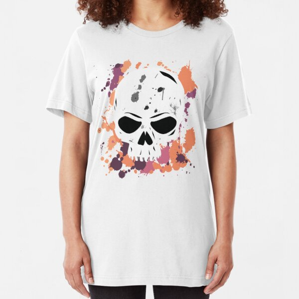 Vibrant Paint Splattered Skull Slim Fit T-Shirt