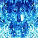 Blau flammt Wolf von DCornel