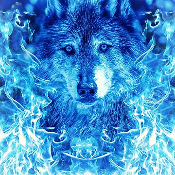 Blue Flames Wolf by DCornel