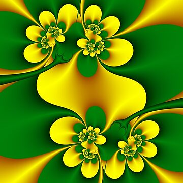 Gold and green abstract flowers 03 by Zsuzsa6