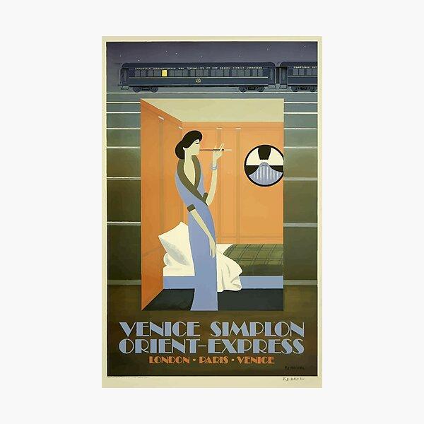 Vintage Travel Poster - Orient-Express Train - Paris Photographic Print