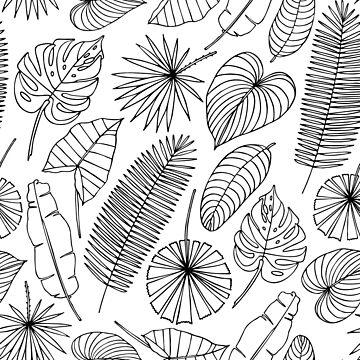 Monochrome seamless pattern with tropical leaves. by genevskayamariy