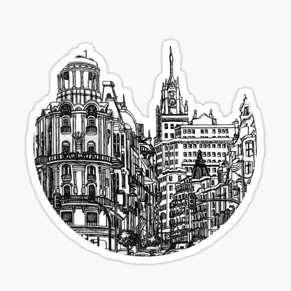 Madrid Line Drawing Sticker