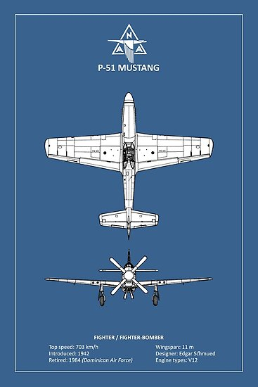 The p 51 mustang blueprint posters by rogue design redbubble the p 51 mustang blueprint by rogue design malvernweather Images