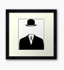 Man In a Bowler Hat by Rene Magritte Inspired Design Framed Print