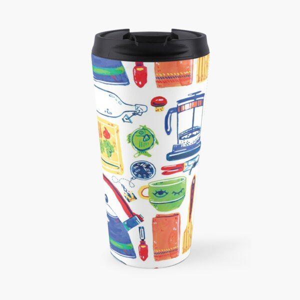 Colorful Hand Painted Kitchen Tools Art Travel Mug
