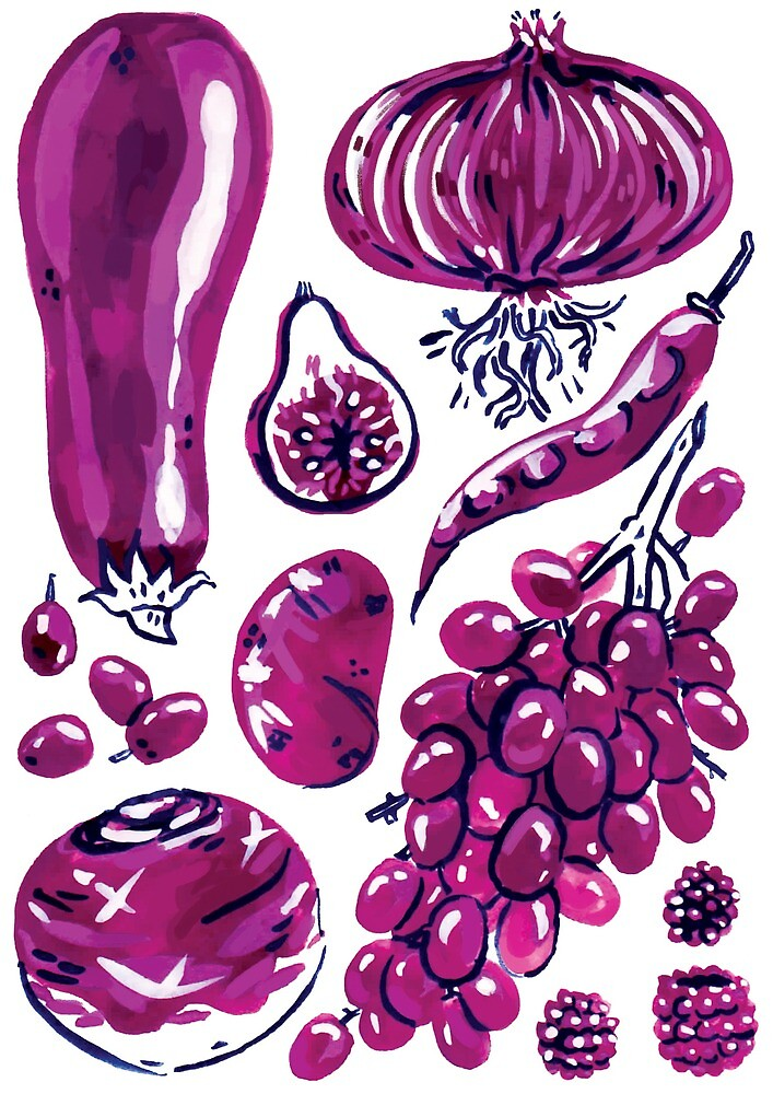 Purple Veggies Hand Painted  by Ragonia
