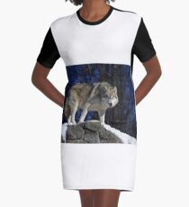 Arctic Wolf on Rock Cliff Graphic T-Shirt Dress