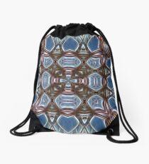 Blue and Brown Drawstring Bag