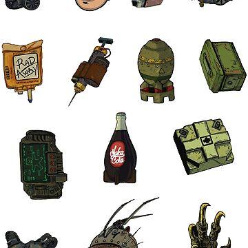 The Radioactive Future rpg videogame adventure! sticker pack by rubenlopezart