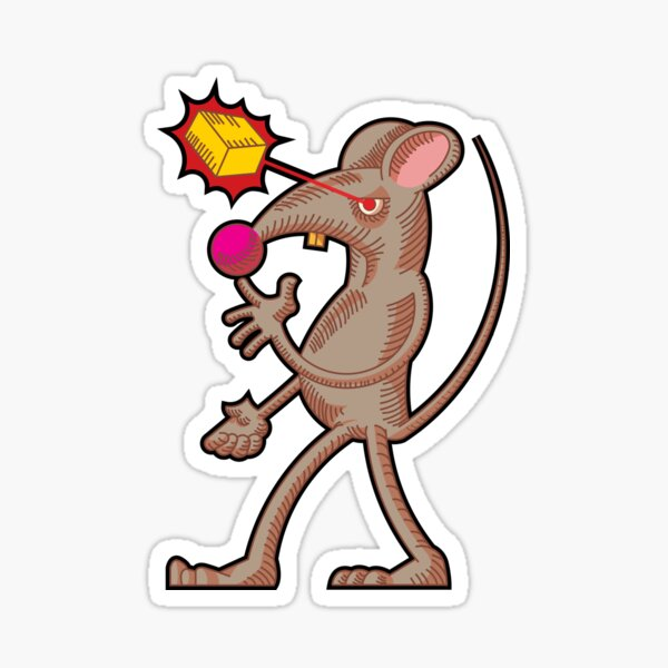 Mouse who laserites cheese with heat vision Sticker