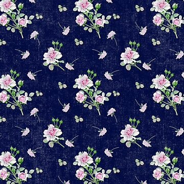 Navy Blue and Pink Roses Pattern by ClaudiaFlores