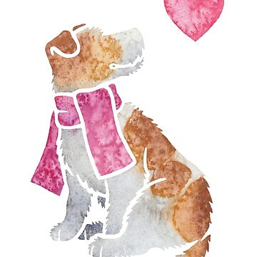 Watercolour Jack Russell Terrier dog by animalartbyjess