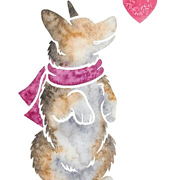 Watercolour Pembroke Welsh Corgi by animalartbyjess