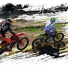On His Tail - Motocross Sports Art  by Skye Ryan-Evans
