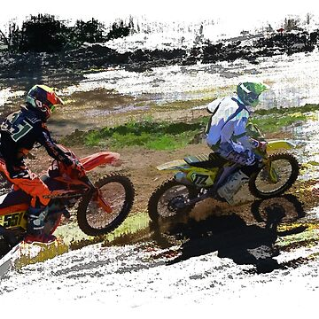 On His Tail - Motocross Sports Art  by RavenPrints