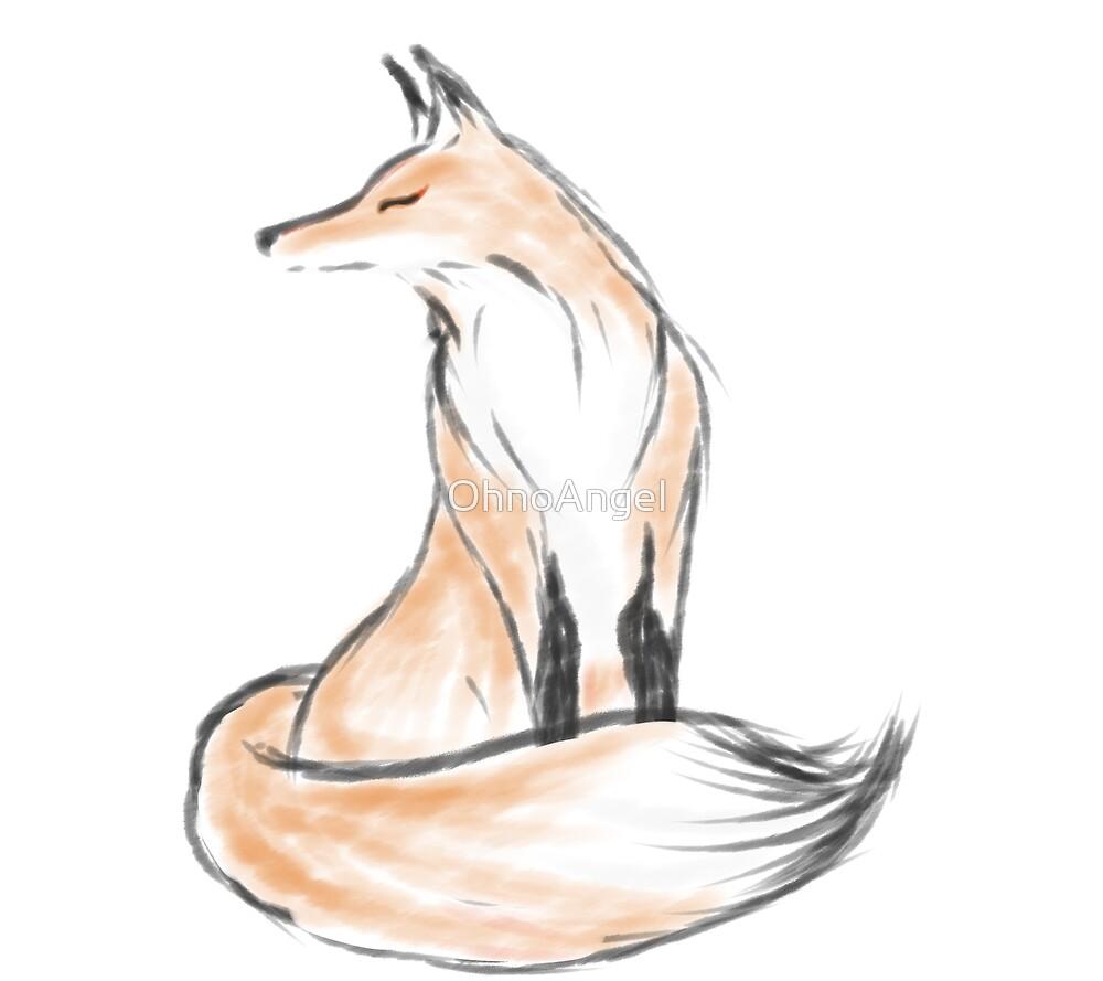 Ink Brush Fox Portrait by OhnoAngel