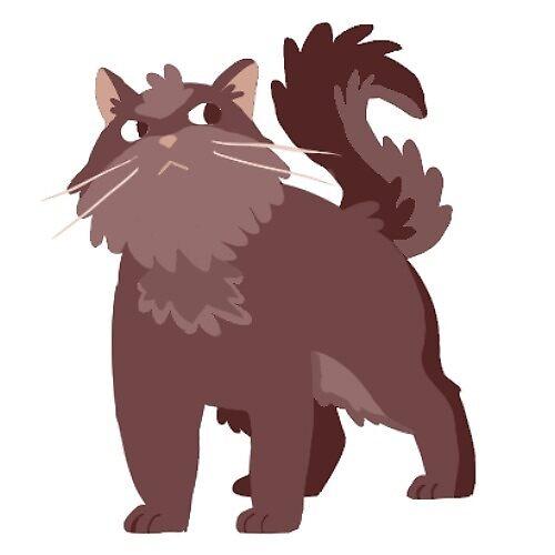 fluffy brown cat sticker by Amanda Pszczolkowski
