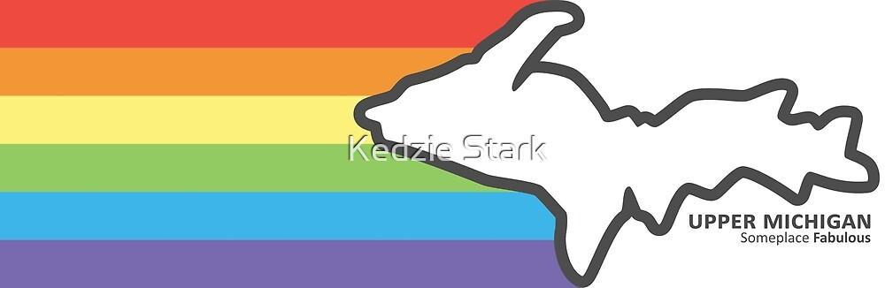 Michigan Upper Peninsula Rectangle- Someplace Fabulous Rainbow by Kedzie Stark