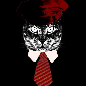 Pilot Cat Red Tie Kitty  by House-of-Roc