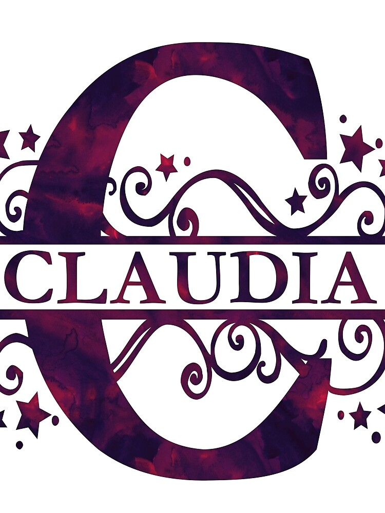 Claudia | Girls Name and Monogram in Dark Purple by PraiseQuotes