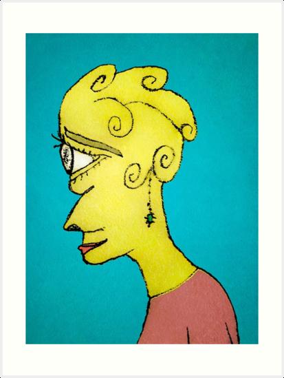 Young Sad Woman Portrait Drawing by DFLC Prints