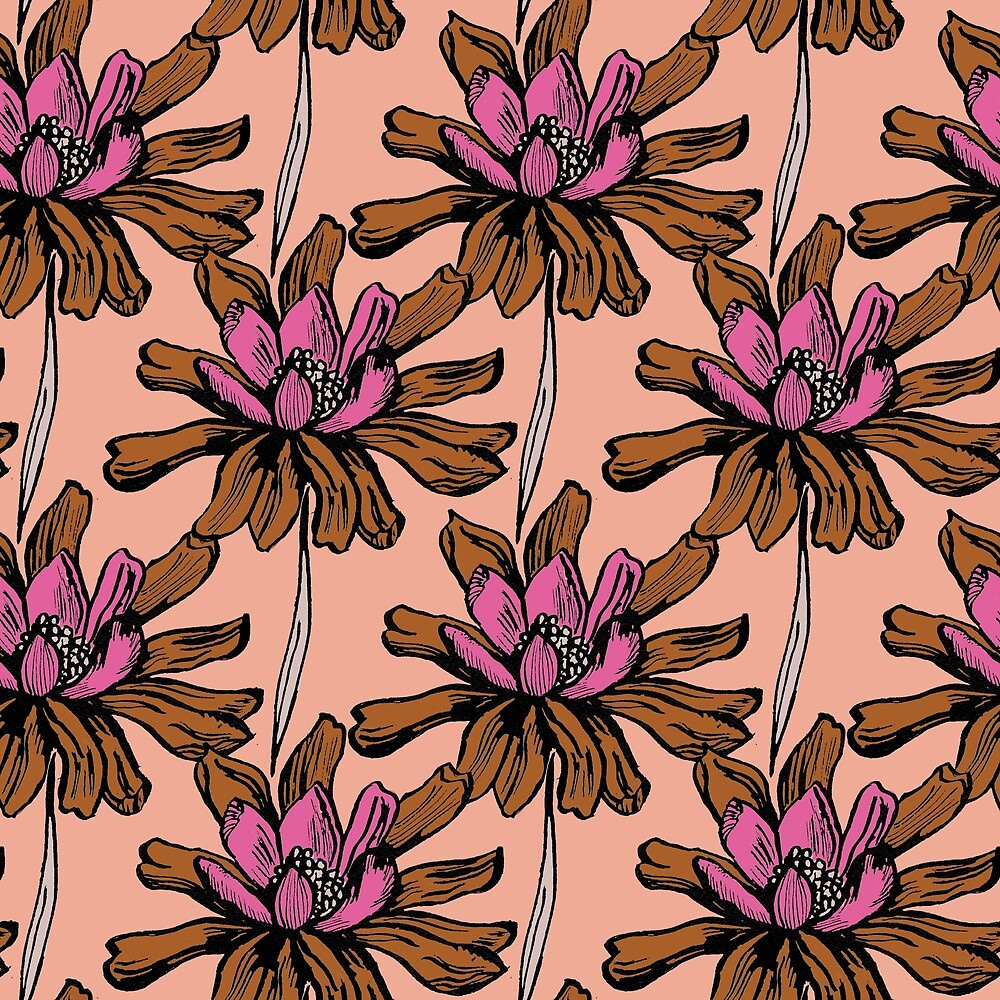 Gold and pink ink floral by Pattern-Design